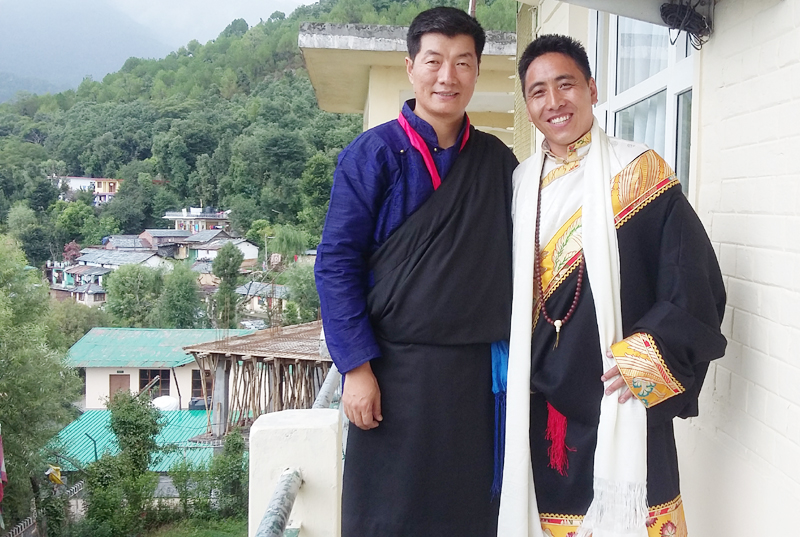 A recent photo of Ngawang Jampa with Dr Lobsang Sangay in Dharamshala, India. Photo: TPI