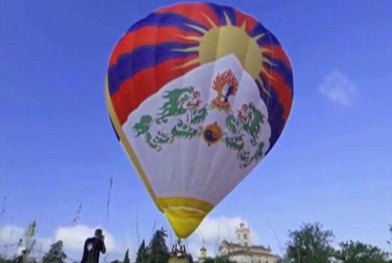 A Tibetan hot air balloon impresses at the Bristol International Balloon Fiesta on Friday in the 37th year of the event. Photo: Media file