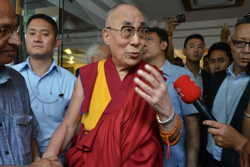 His Holiness the 14th Dalai Lama speaking to media after attending the 12th Religious Conference of the Four Major Schools of Tibetan Buddhism and Bon Tradition in Dharamshala, HP, India on June 20, 2015. Photo: Lhasa Daily
