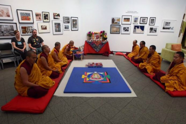 Tibetan Monks bring message to Carrboro. Photo: The News & Observers