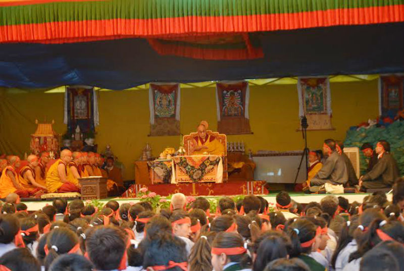 His Holiness the Dalai Lama during his teachings at TCV Upper Dharamshala, India. Photo: TPI/Dawa Phurbu