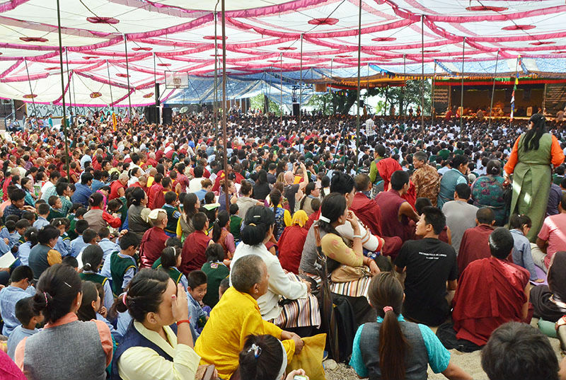 Thousands of audiences listening to His Holiness the Dalai Lama at the Tibetan Children's Village School, Dharamshala, HP, India on May 27, 2015. Photo: TPI/Dawa Phurbu