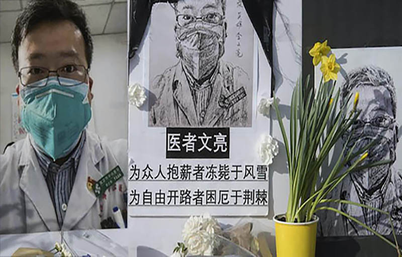 Chinese whistleblower Dr Li Wenliang, died of COVID-19 in early February, sits on UCLA's campus in Southern California, USA, in February, 2020. Photo: Mark Ralston/AFP