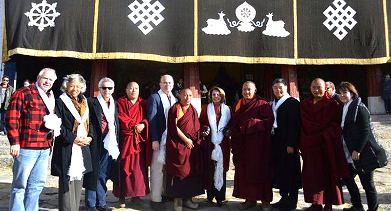 US Congressional delegation led by House Minority Leader Nancy Pelosi meeting with Tibetan monks at the SeraMonastery during the historic visit to Tibet last week. Photo/Leader Nancy Pelosi's Office