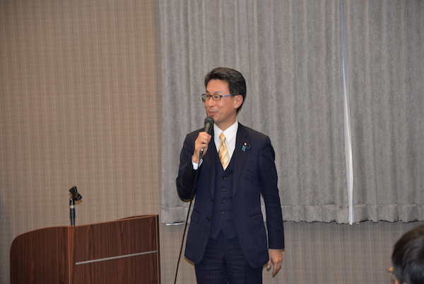 Mr. Nagao Takashi, Member of Parliament from the ruling Liberal Democratic Party and secretary of the All Party Japanese Parliamentary Support Group for Tibet, speaking at Sikyong's talk in Osaka, Japan, on 22 Feb 2018.