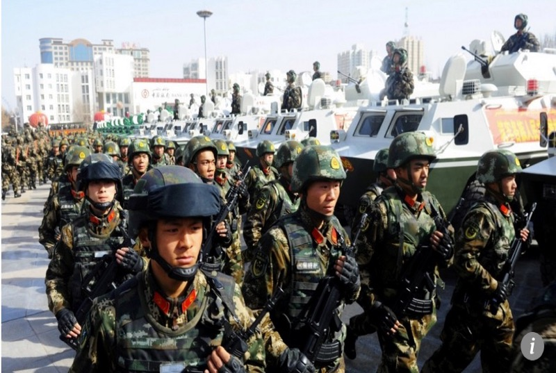 Chinese military deployments in east Turkistan. Photo: SCMP