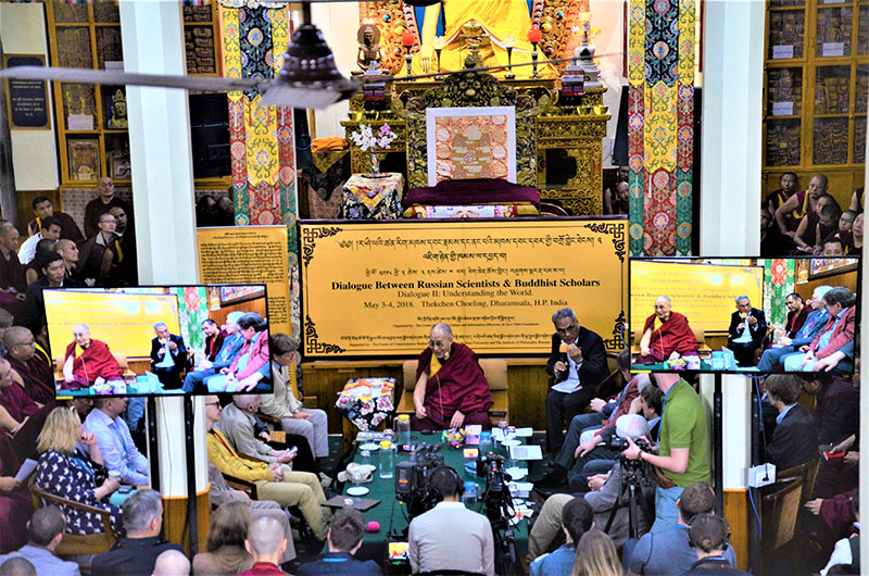 His Holiness the Dalai Lama during the first day of the Dialogue between Russian and Buddhist Scholars in Dharamsala, India on May 3, 2018. Photo: TNO