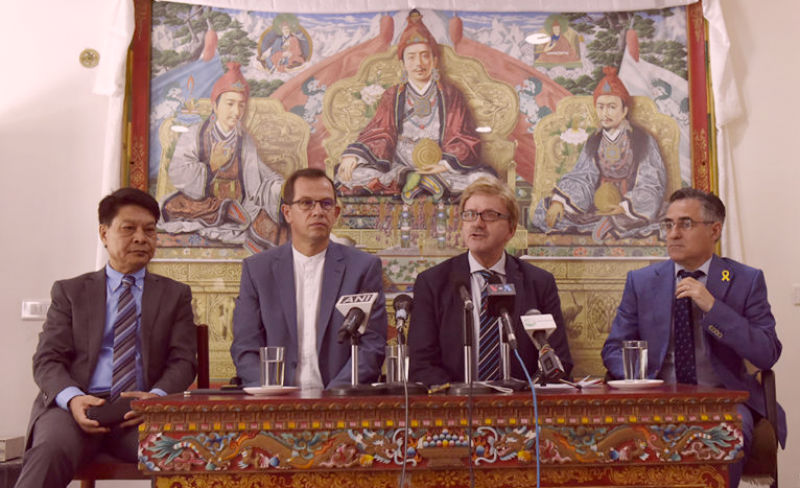 Delegation consisting of MEP Thomas Mann, MEP CSaba Sogor and MEP Ramon Tremosa with Representative Tashi Phuntsok at the press conference in Dharamshala, India, on May 10, 2018. Photo/Tenzin Phende/DIIR