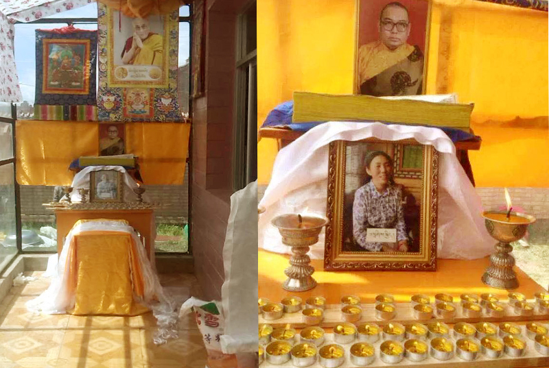 After her death, family offered traditional butter lamps for Tashi Kyi. Photo: Lhasa Daily