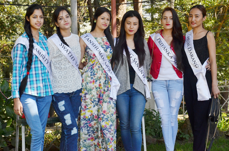 Six contestants of the Miss Himalaya Pageant 2015 pose for a photo during a press conference in McLeod Ganj on October 2, 2015. Photo: Tibet Digital News