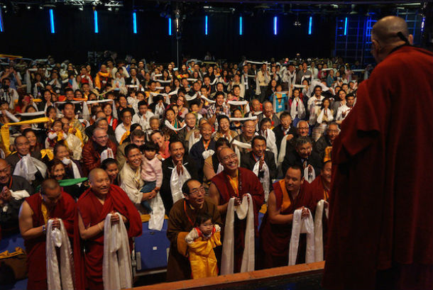 His Holiness the Dalai Lama greeting members of the Tibetan community on his arrival at the O2 Indigo in London, England on September 19, 2015. Photo/Ian Cumming