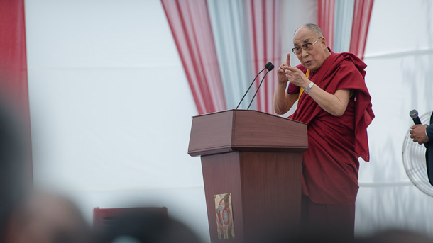 "His Holiness the Dalai Lama speaking on ""Ethics and Happiness"" at the Indian Institute of Technology (IIT) in New Delhi, India on April 9, 2016. Photo/Tenzin Choejor/OHHDL"