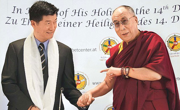 Incumbent Tibetan PM Lobsang Sangay, pictured with the Dalai Lama, has a lot riding on him. Photo: Daily Mail