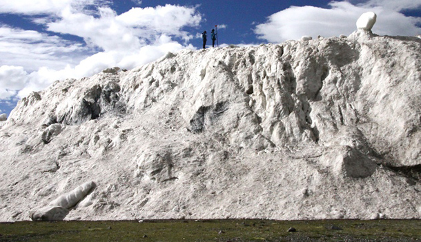 The massive ice avalanche in Rutong county, Tibet, covered 10 square kilometres with its debris.  Photo: Jibiao Zong