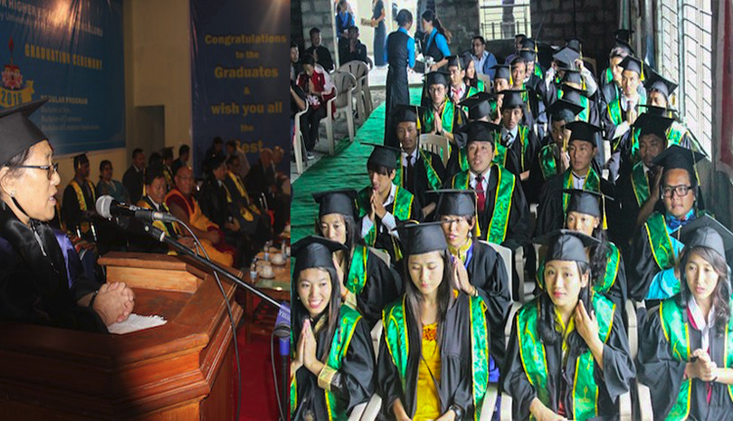 In total, 77 students graduated from five different undergraduate degree programs; 8 in Chinese Language and Literature, 9 in Tibetan Language and Literature, 23 in B.A., 29 in B.Com. and 8 in BCA this year. Photo: CTA/DIIR