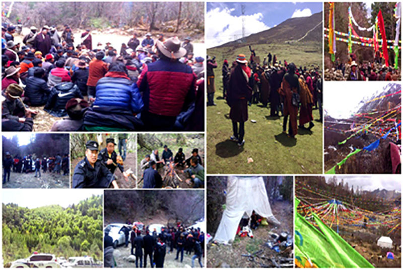 Mining protest in Akhori Township in Ngaba, Amdo, north-eastern Tibet. Photo: TPI