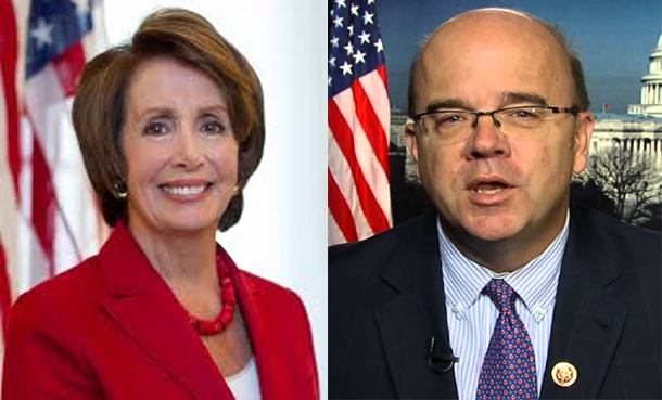 Rep. Nancy Pelosi, D-Calif., minority leader of the U.S. House of Representatives and a former Speaker of the House and Rep. Jim McGovern, a Massachusetts' Democrat. Photo: File