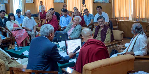 His Holiness the Dalai Lama with Indian scholars in Dharamshala, India. Photo: File