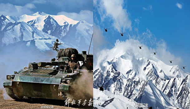 Have a look at these pictures of the Chinese border forces (PLA) exercising in the Kunlun Mountains, probably not far from Ladakh.