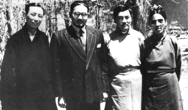 S. Sinha, second from the left with Gyalo Thondup (the Dalai Lama's brother) on his right
